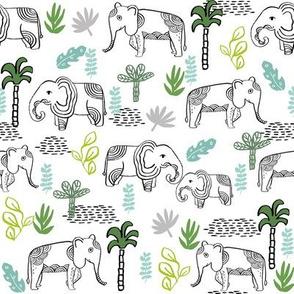 elephant jungle fabric - tropical elephant fabric, elephant palms, tropical fabric - palm trees -  white