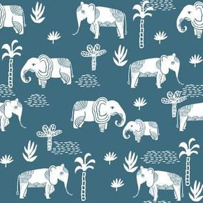 elephant jungle fabric - tropical elephant fabric, elephant palms, tropical fabric - palm trees -  petrol