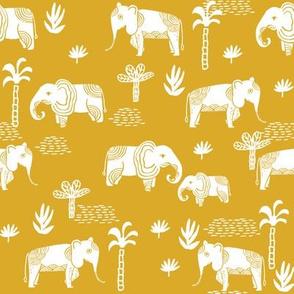 elephant jungle fabric - tropical elephant fabric, elephant palms, tropical fabric - palm trees -  yellow