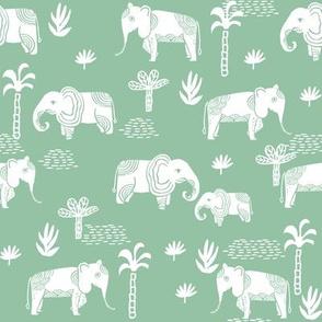 elephant jungle fabric - tropical elephant fabric, elephant palms, tropical fabric - palm trees -  mint