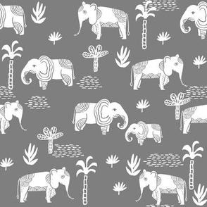 elephant jungle fabric - tropical elephant fabric, elephant palms, tropical fabric - palm trees -  med. grey