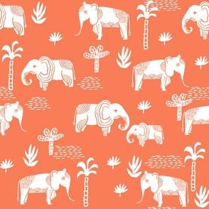 elephant jungle fabric - tropical elephant fabric, elephant palms, tropical fabric - palm trees -  salmon