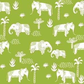 elephant jungle fabric - tropical elephant fabric, elephant palms, tropical fabric - palm trees -  lime green