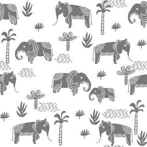 elephant jungle fabric - tropical elephant fabric, elephant palms, tropical fabric - palm trees -  grey on white
