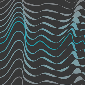 Wave hello - teal and gray organic waves on anthracite