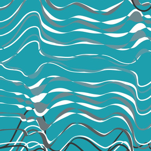 Wave hello - gray organic waves on teal