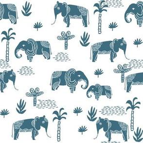 elephant jungle fabric - tropical elephant fabric, elephant palms, tropical fabric - palm trees -  petrol on white