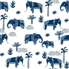 elephant jungle fabric - tropical elephant fabric, elephant palms, tropical fabric - palm trees -  navy on white