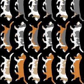 Trotting Basset hound border vertical - black