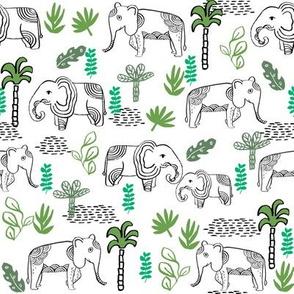 elephant jungle fabric - tropical elephant fabric, elephant palms, tropical fabric - palm trees -  white and green
