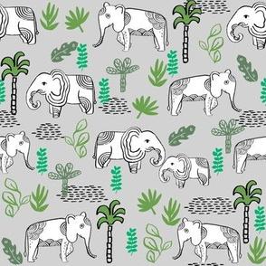 elephant jungle fabric - tropical elephant fabric, elephant palms, tropical fabric - palm trees -  grey