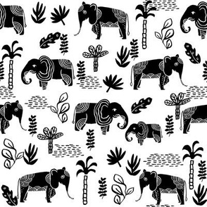 elephant jungle fabric - tropical elephant fabric, elephant palms, tropical fabric - palm trees -  black and white