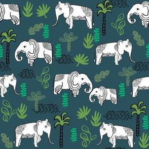 elephant jungle fabric - tropical elephant fabric, elephant palms, tropical fabric - palm trees -  navy