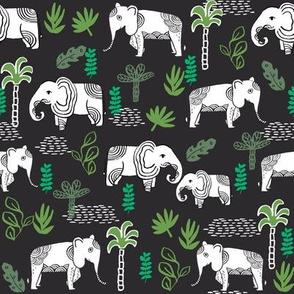 elephant jungle fabric - tropical elephant fabric, elephant palms, tropical fabric - palm trees -  dark
