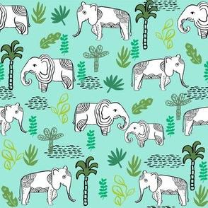 elephant jungle fabric - tropical elephant fabric, elephant palms, tropical fabric - palm trees -  mint and green