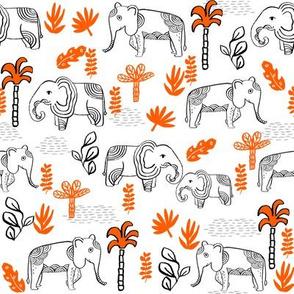 elephant jungle fabric - tropical elephant fabric, elephant palms, tropical fabric - palm trees -  white and orange