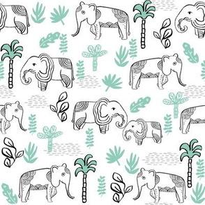 elephant jungle fabric - tropical elephant fabric, elephant palms, tropical fabric - palm trees -  white and mint