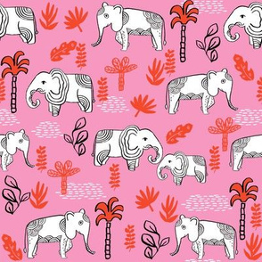 elephant jungle fabric - tropical elephant fabric, elephant palms, tropical fabric - palm trees -  pink and red