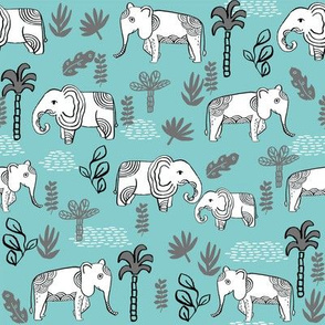 elephant jungle fabric - tropical elephant fabric, elephant palms, tropical fabric - palm trees -  blue and grey