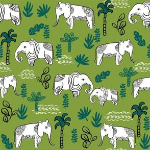 elephant jungle fabric - tropical elephant fabric, elephant palms, tropical fabric - palm trees -  green