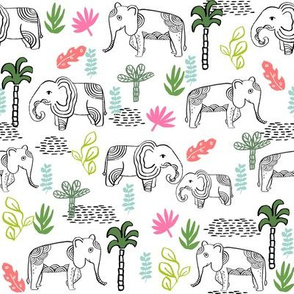 elephant jungle fabric - tropical elephant fabric, elephant palms, tropical fabric - palm trees - white and pink