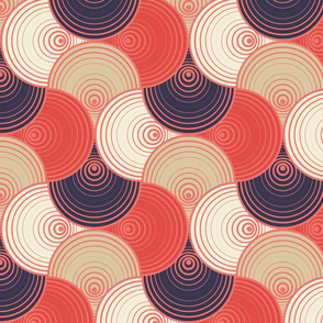 Hypnotic target - circles in coral and sand