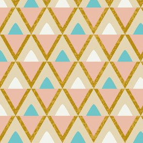 Retro triangles gold turquoise textured