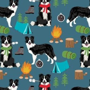border collie camping dog fabric - border collie fabric, hiking fabric, outdoors dog fabric - blue