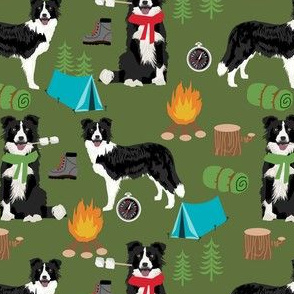 border collie camping dog fabric - border collie fabric, hiking fabric, outdoors dog fabric -  green