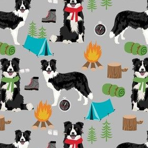 border collie camping dog fabric - border collie fabric, hiking fabric, outdoors dog fabric -  grey