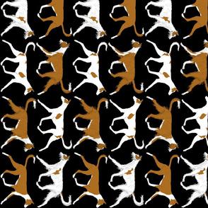 Trotting Ibizan hound border vertical - black