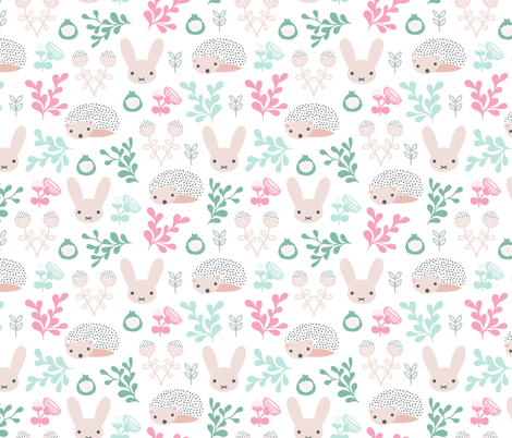 Spring friends bunny and hedgehog garden botanical animals summer easter flowers and leaves girls fabric by littlesmilemakers on Spoonflower - custom fabric