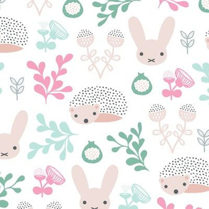 Spring friends bunny and hedgehog garden botanical animals summer easter flowers and leaves girls
