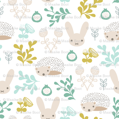 Spring friends bunny and hedgehog garden botanical animals summer easter flowers and leaves boys