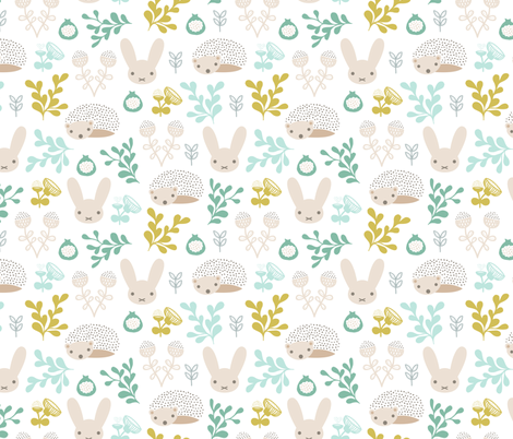 Spring friends bunny and hedgehog garden botanical animals summer easter flowers and leaves boys fabric by littlesmilemakers on Spoonflower - custom fabric