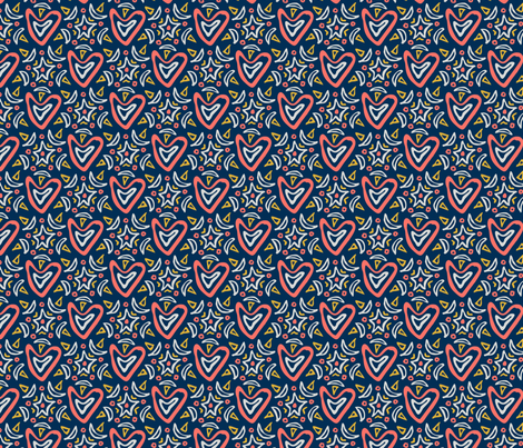 My Heart Is Ecstatic LIMITED PALETTE navy fabric by jewelraider on Spoonflower - custom fabric