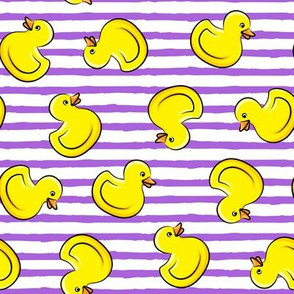 rubber duck toss - bath time toy - yellow ducks - purple stripes LAD19
