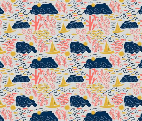 Ocean Days Coral fabric by abbie0akley on Spoonflower - custom fabric