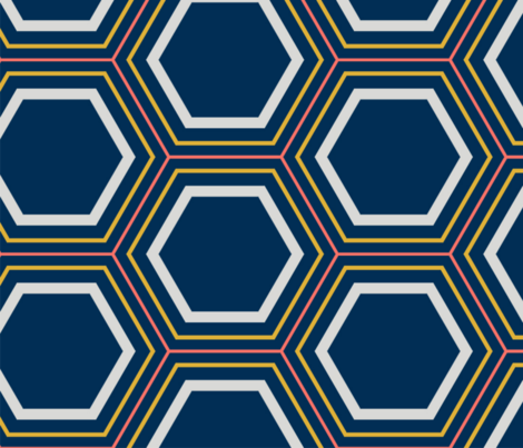 Concentric Hexagons Blue Coral Gray Goldenrod 2 Large fabric by instantclassic on Spoonflower - custom fabric