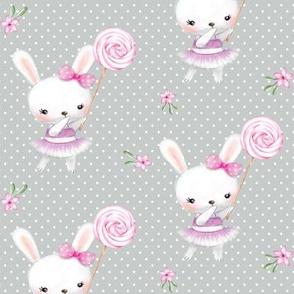 Ballerina Bunny and Lollipop, Gray Dot