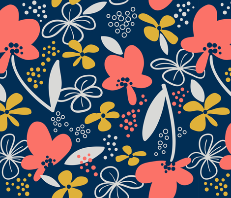 Coral Lmtd Colors-Floral Whimsy fabric by kimbliss on Spoonflower - custom fabric