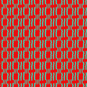 Teal Abstract Squiggles On Red
