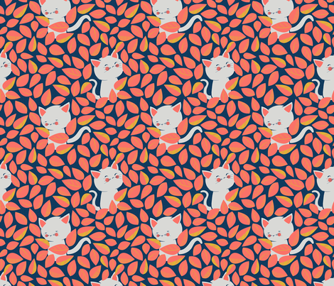 Kittens Hiding in the Hedge fabric by jennifer_todd on Spoonflower - custom fabric