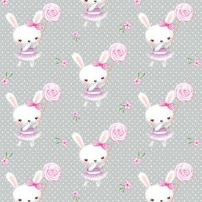 Ballerina Bunny and Lollipop, Gray Dot, Pink Flowers