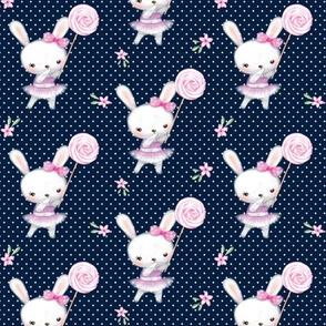 Ballerina Bunny and Lollipop, Navy Dot, Pink Flowers