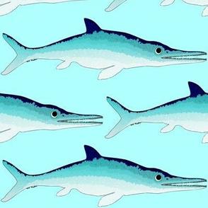 Icthyosaur on sea blue