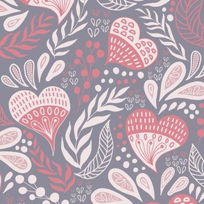 Floral Hearts Day Blueish Gray and Pink