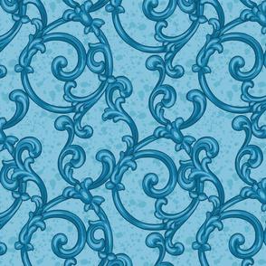 blue scrolling pattern