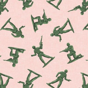 army men - green plastic army men - toy - pink - LAD19