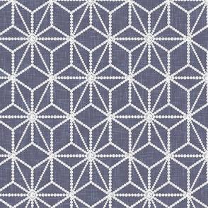 ROTATED (Custom) Hemp leaf pattern pearls on denim gray by Su_G